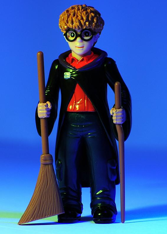 The Rip Off Harry Potter Holding the Broom and Wand like a Cane